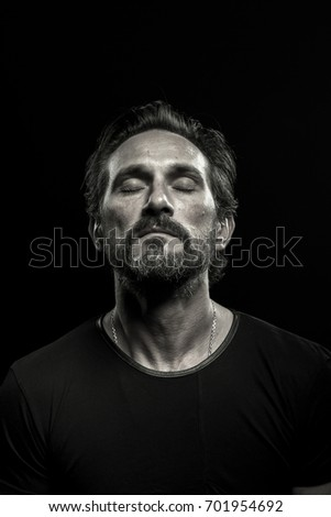black and white portrait of a...