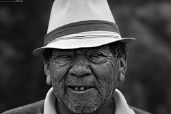 Black and white Portrait of a old mexican man.