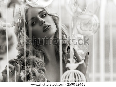 Black and white portrait of glamour woman #259082462