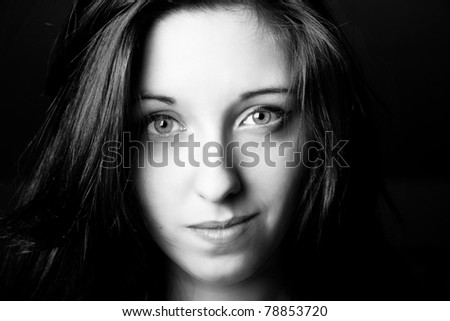 black and white portrait of good young girl