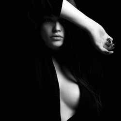 black and white portrait of sexy girl.erotic beautiful woman in dark