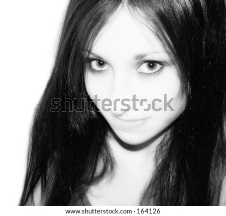 Black and white portrait of young gothic teen