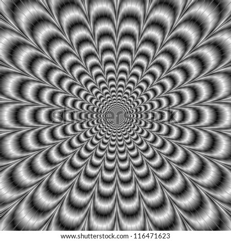 Black and White Pulse/Digital abstract image with a psychedelic design producing the illusion of movement in black and white.