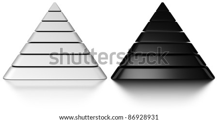 Black and white pyramids onto a white background with reflection