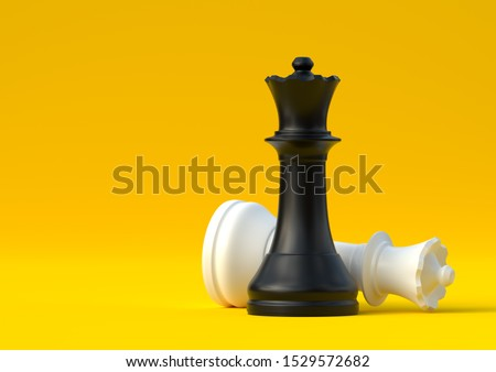Black and white queen chess piece isolated on pastel yellow background. Chess game figurine. Chess pieces. Board games. Strategy games. Creative minimal concept. 3d illustration, 3d rendering