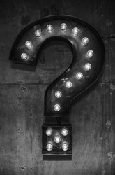 Black and white question mark light