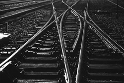 Black and white rails during night