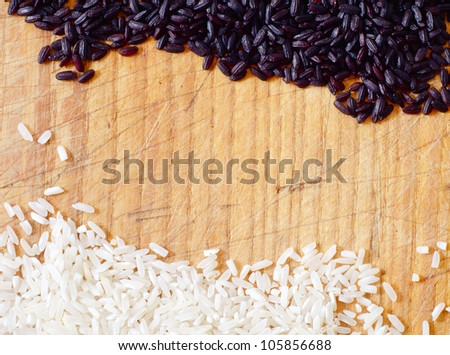 black and white rice on the board