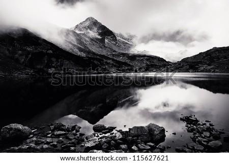 black and white Rila landscape