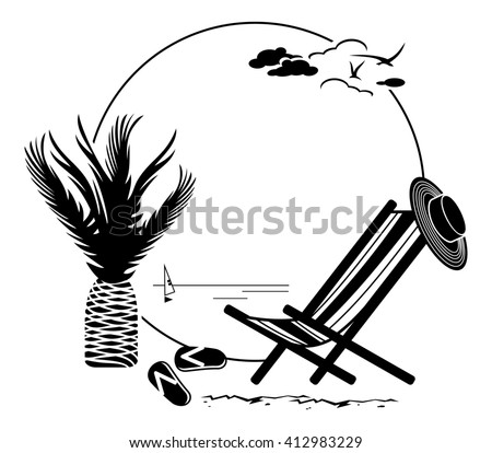 Black and white round frame with palm tree silhouette. Raster clip art.