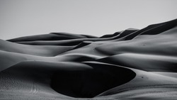 black and white Sand Dunes In Liwa desert abu dhabi , united arab emirates