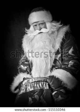 Black and white Santa Claus gets gifts