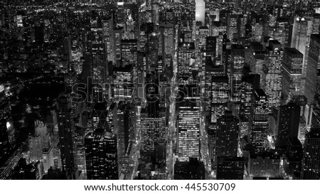 black and white scene of new york city skyline cityscape background. dramatic aerial shot of urban metropolis scenery