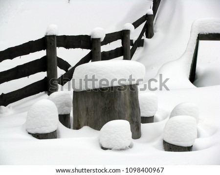Black and white scenic landscape representing a table with chairs made by tree trunks, covered with lot of snow #1098400967