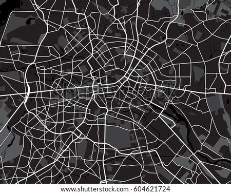 Black and white scheme of the Berlin, Germany. City Plan of Berlin