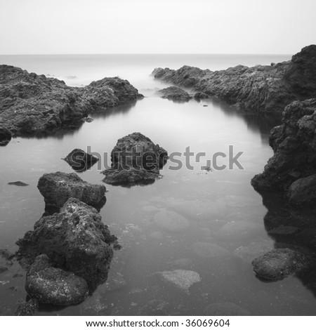 black and white sea landscape