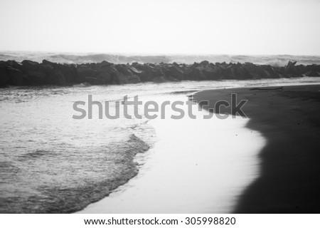 Black and white sea near Rome