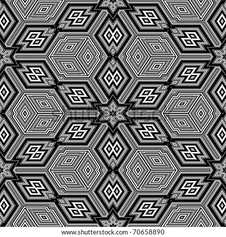 Black and white seamless background resembling three dimensional cubes - Escher style - stock photo