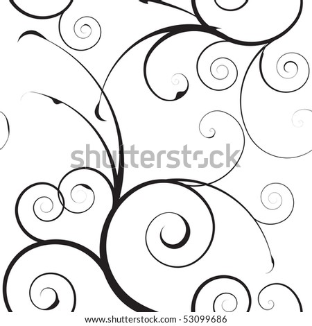 stock photo : Black and white seamless floral simple background pattern