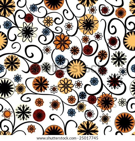 flower patterns black and white. stock photo : Black and white