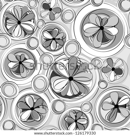 black and white seamless flowers and round shapes, rasterized vector. Vector file is also in my portfolio
