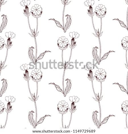 Black and white Seamless pattern with flowers on white background. For Packaging paper, greeting cards design, textile, fabric #1149729689
