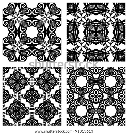 black and white seamless patterns; abstract textures; art illustration