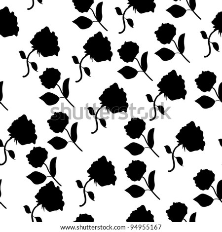 Black and white seamless roses pattern isolated