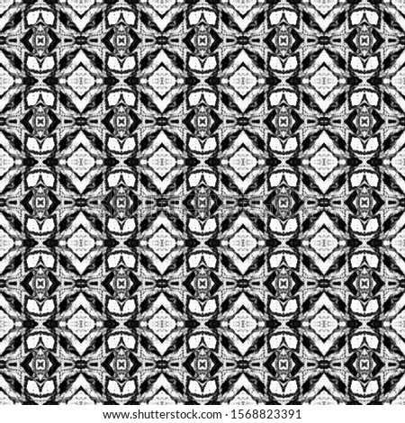 Black and white seamless tiles. Ikat spanish tile pattern. Italian majolica. Mexican puebla talavera. Decorative monochrome tile pattern design.Tiled texture for kitchen,bathroom flooring ceramic.