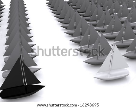 black and white ships duel. 3D