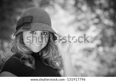 Black and white shoot of woman in the park