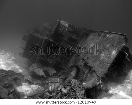 Black and White shot of an Underwater Shipwreck
