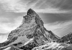 Black and white shot of Matterhorn from Zermatt, Switzerland