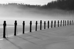 Black and white shot of mooring poles in the ice