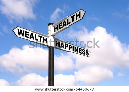 Black and white signpost with the words Health, Wealth and Happiness against a blue cloudy sky.