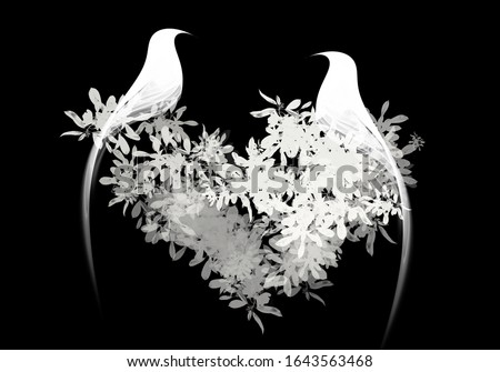 Black and white Silhouette birds on tree illustration stock photo