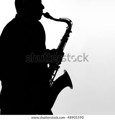 Black and white silhouette of a saxophone player. - stock photo