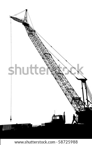 Black and white silhouette of large crane on construction job site