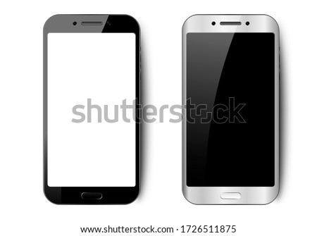 Black and white smartphone with shadow, camera and glare, mobile phone with empty screen for your design on isolated background