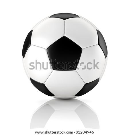 black and white soccer ball - stock photo