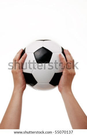 black and white soccer ball on the white background