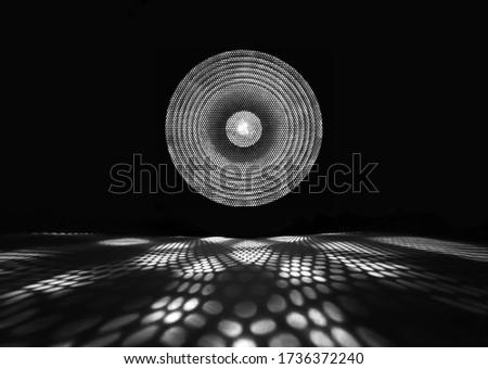 Black and white spotlight. Shiny projector beam. White light show on black background. stock photo