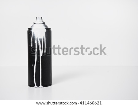 black and white spray paint bottle #411460621