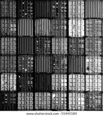 Black and white square composition of thirty six containers in the harbor of Antwerp, Flanders, Belgium
