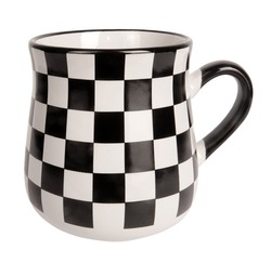 Black and white squares pattern checkered mug or jug isolated on white background