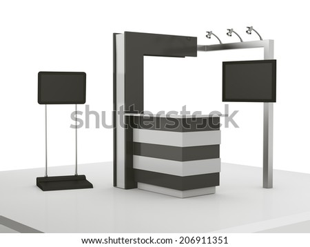 black and white stall or booth with tv screen in a trade show 3D render