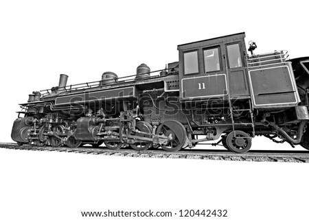 Black and white steam locomotive