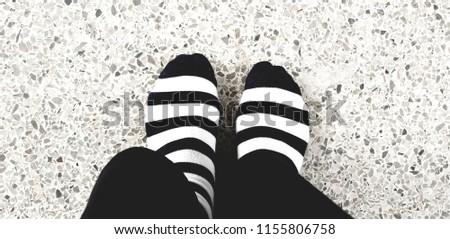Black and white striped socks #1155806758