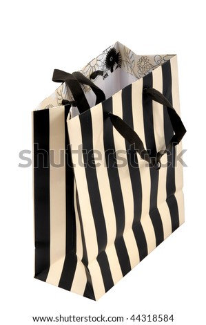 Black  White Striped Dress on Black And White Stripes Paper Bag For Presents Stock Photo 44318584