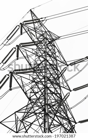 Black and white Structural of power transmission lines/ Structural of power transmission lines